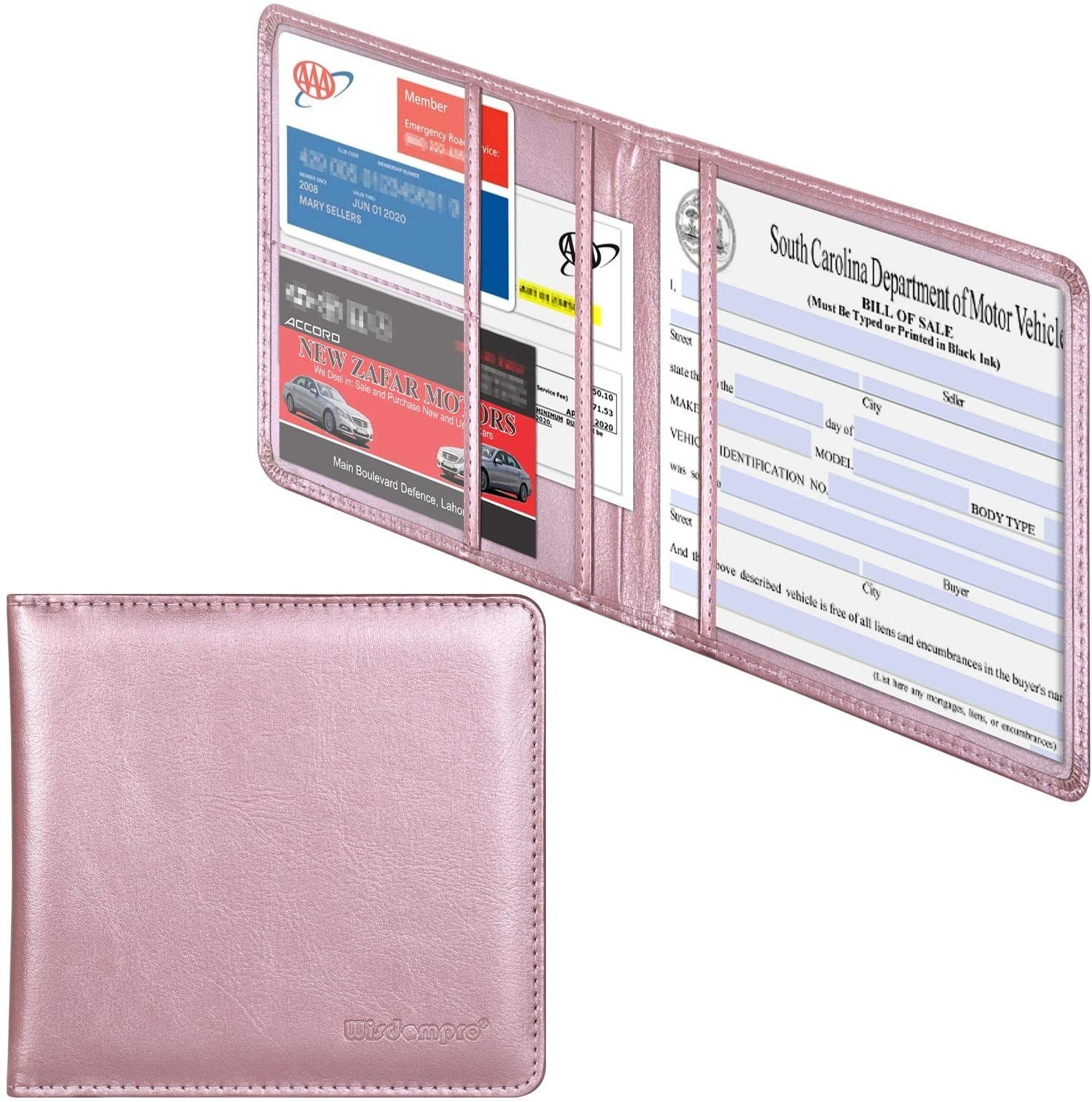 light pink metallic organizer for car documents