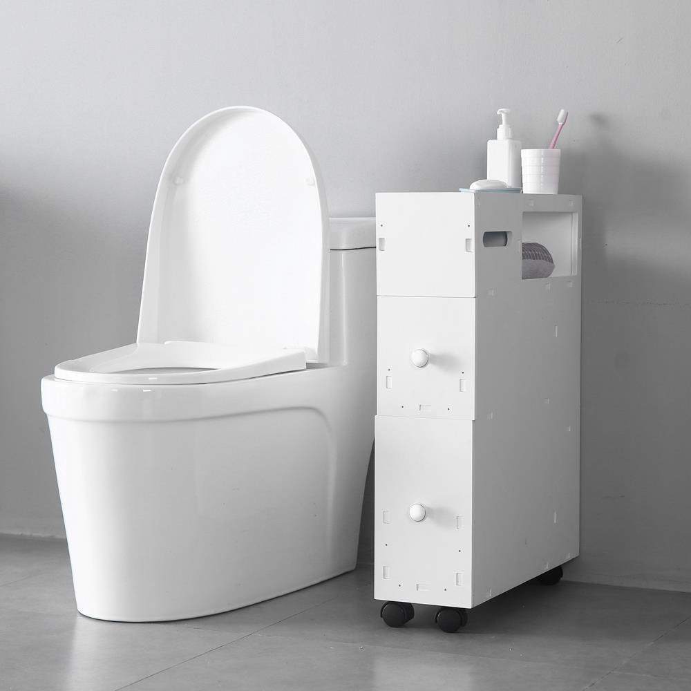 Skinny white cabinet on black caster wheels