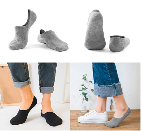 A model showing how the socks fit on their feet, and how they don't peek out when wearing shoes