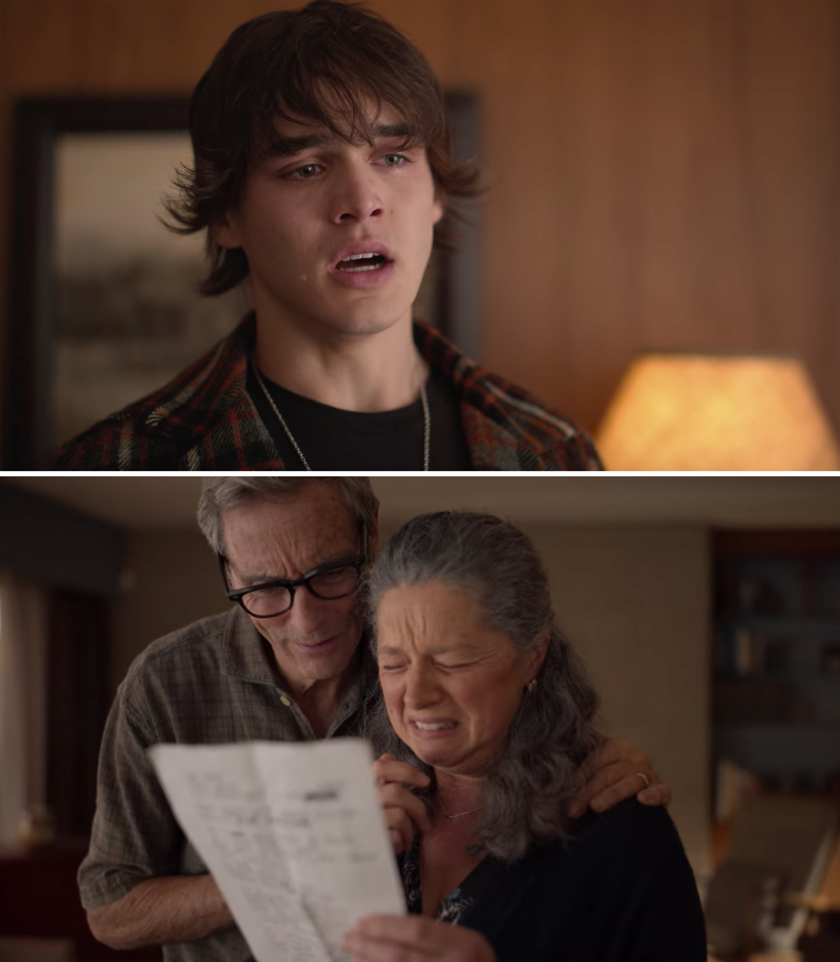 Luke and his parents crying while reading the song