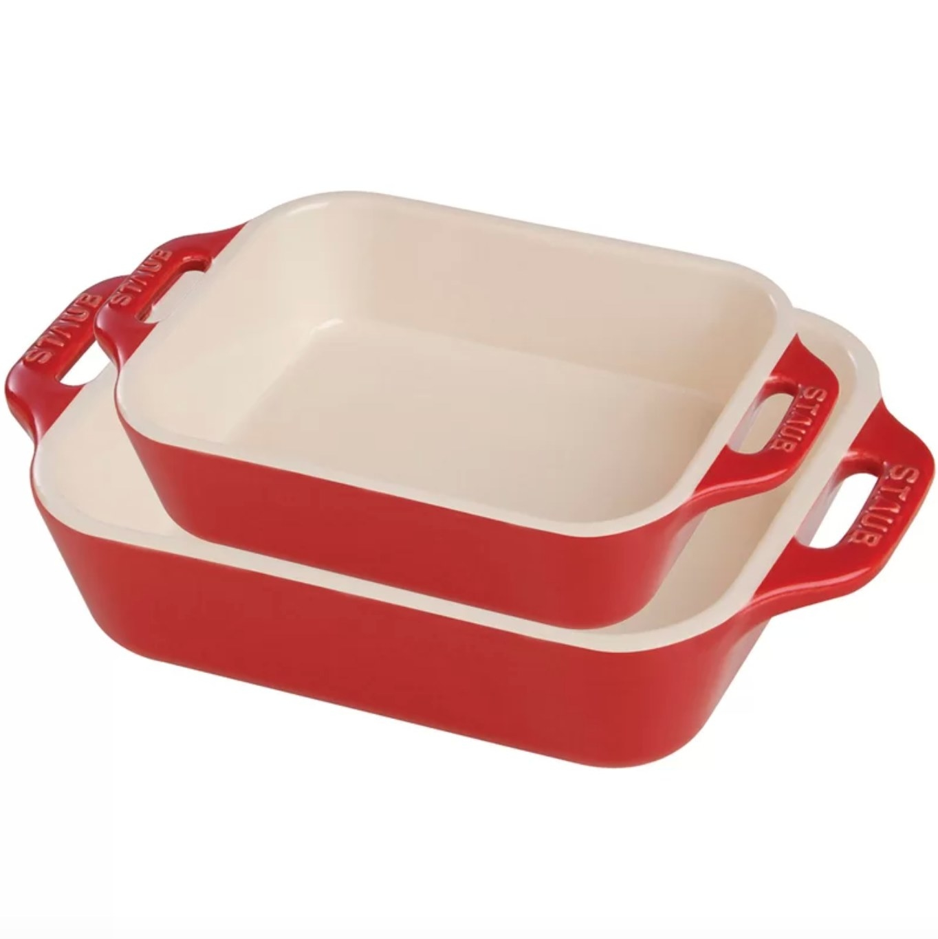The pans in red