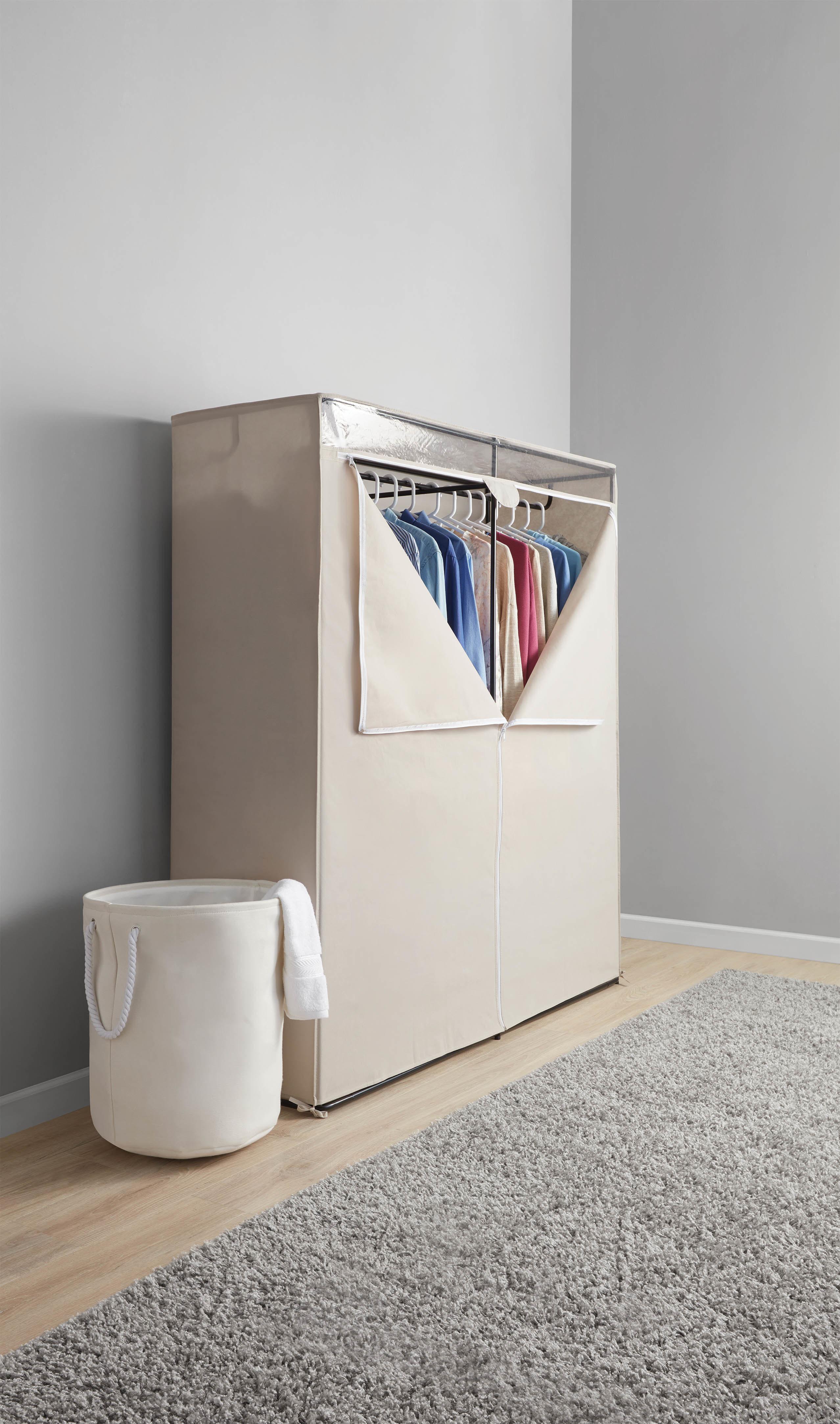 Canvas closet unzippered revealing clothing inside