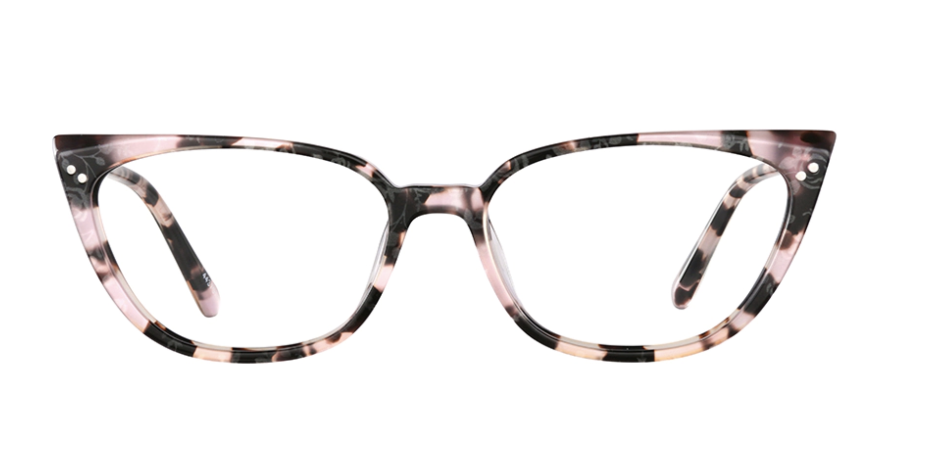 A pair of pink and black tortoise shell cat eye glasses