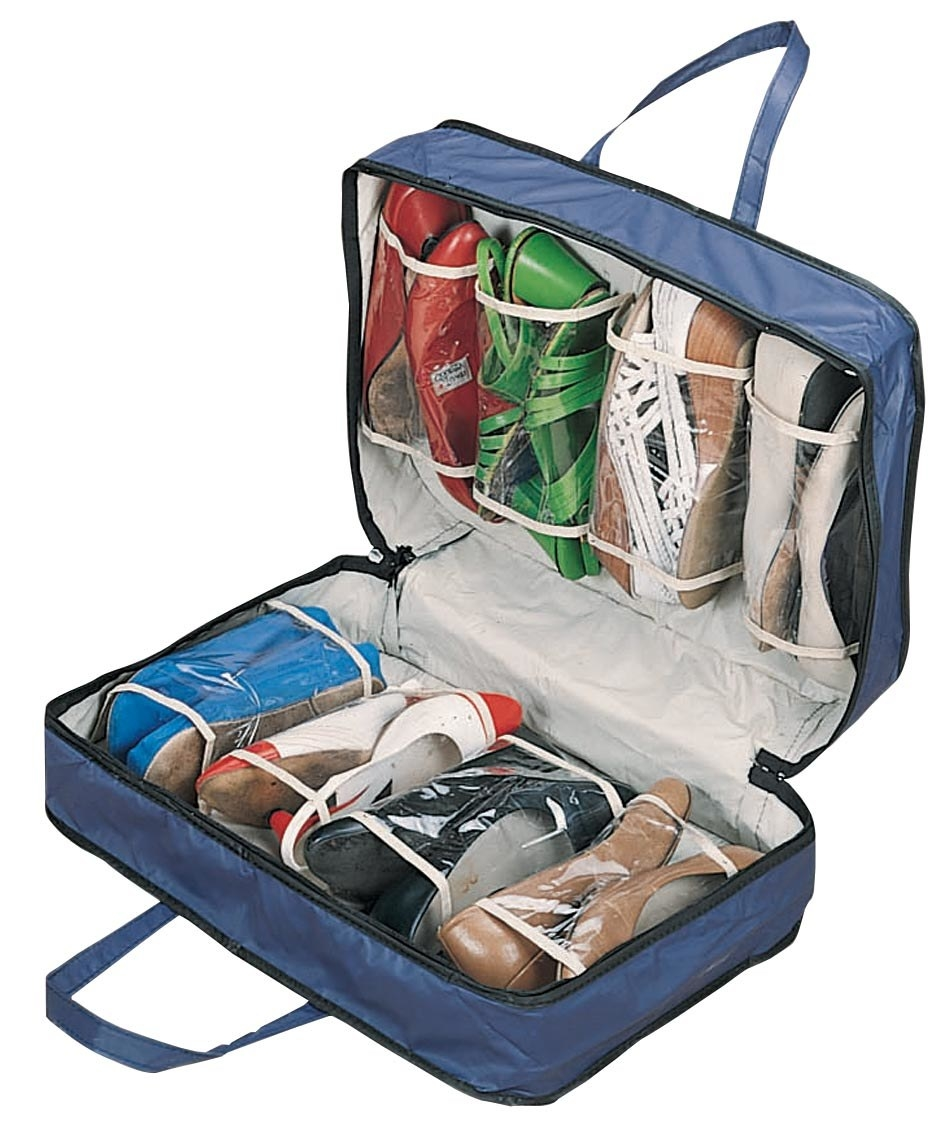 Blue bag with shoes inside
