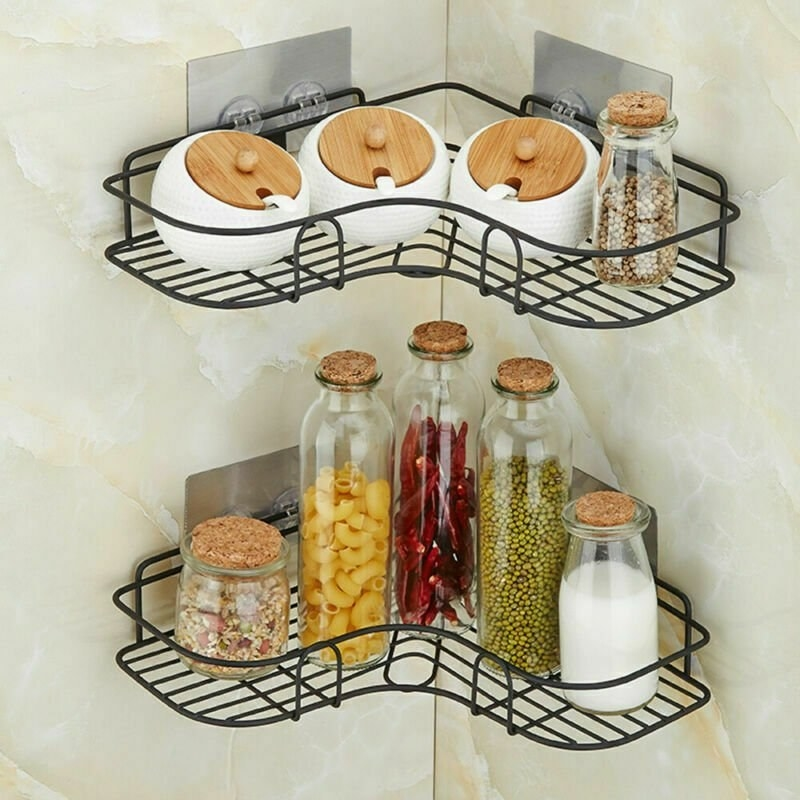 Black corner wire shelving with kitchen items