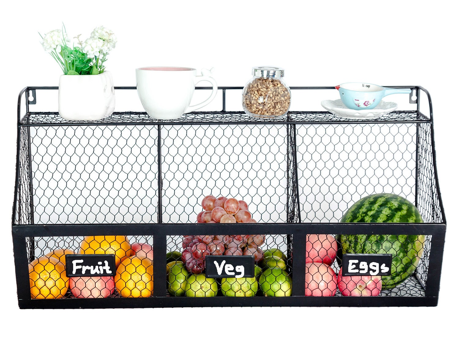 Black wire shelving with fruits inside