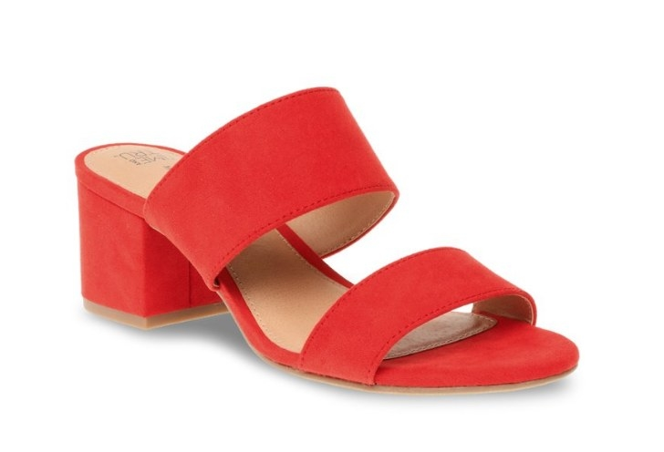 Low red heel with two red straps