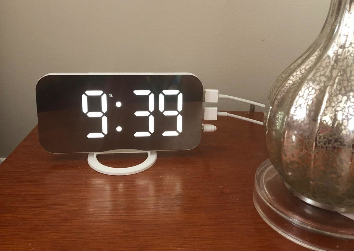 the alarm clock on a reviewer's nightstand