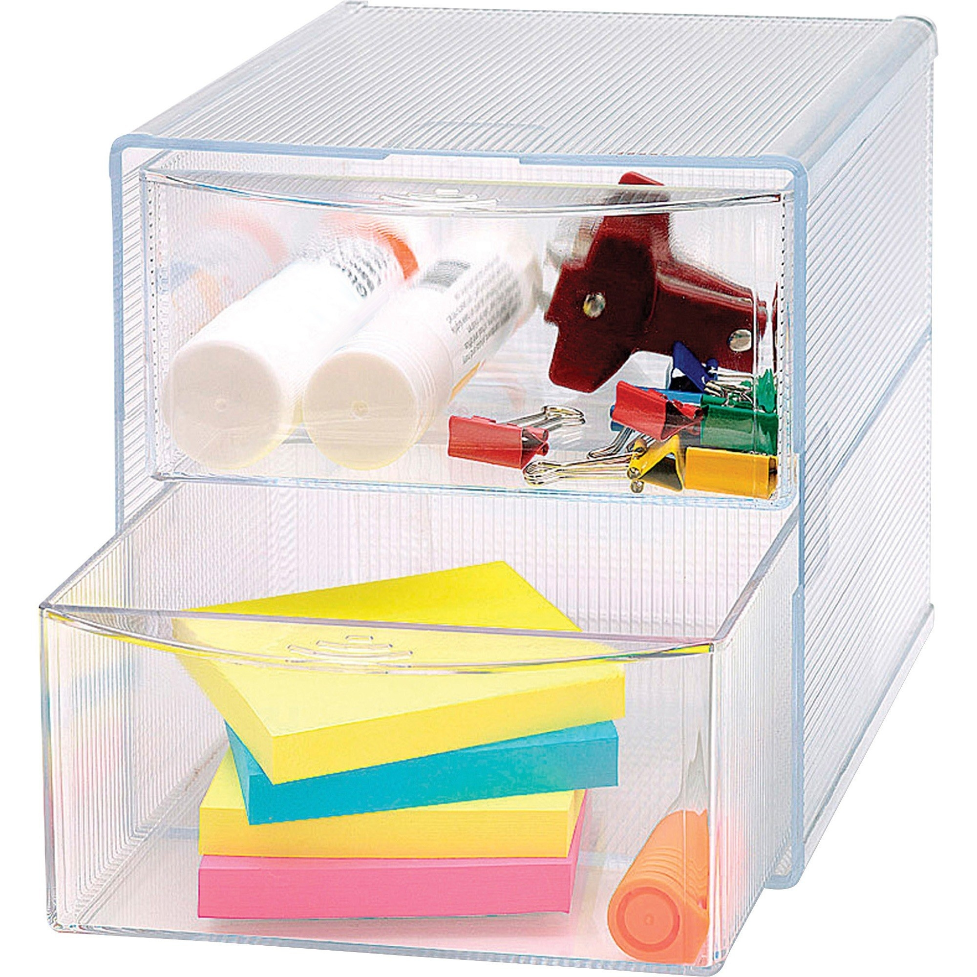 Clear box drawers with office items inside