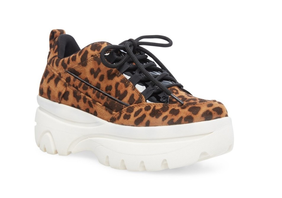 Leopard sneaker with chunky white platform and black laces