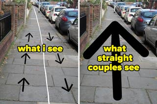 Images showing how straight couples think they own the sidewalk and no one is walking the opposite direction