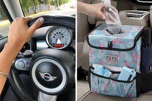 split thumbnail of nice looking steering wheel cover and a waterproof trash bin that's covered in a flamingo print