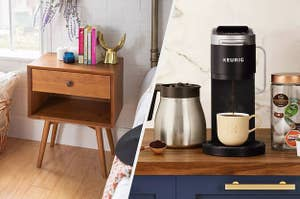 to the left: an end table, to the right a keurig machine
