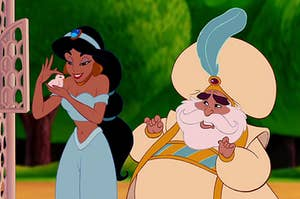 Jasmine petting a bird with the sultan standing next to her