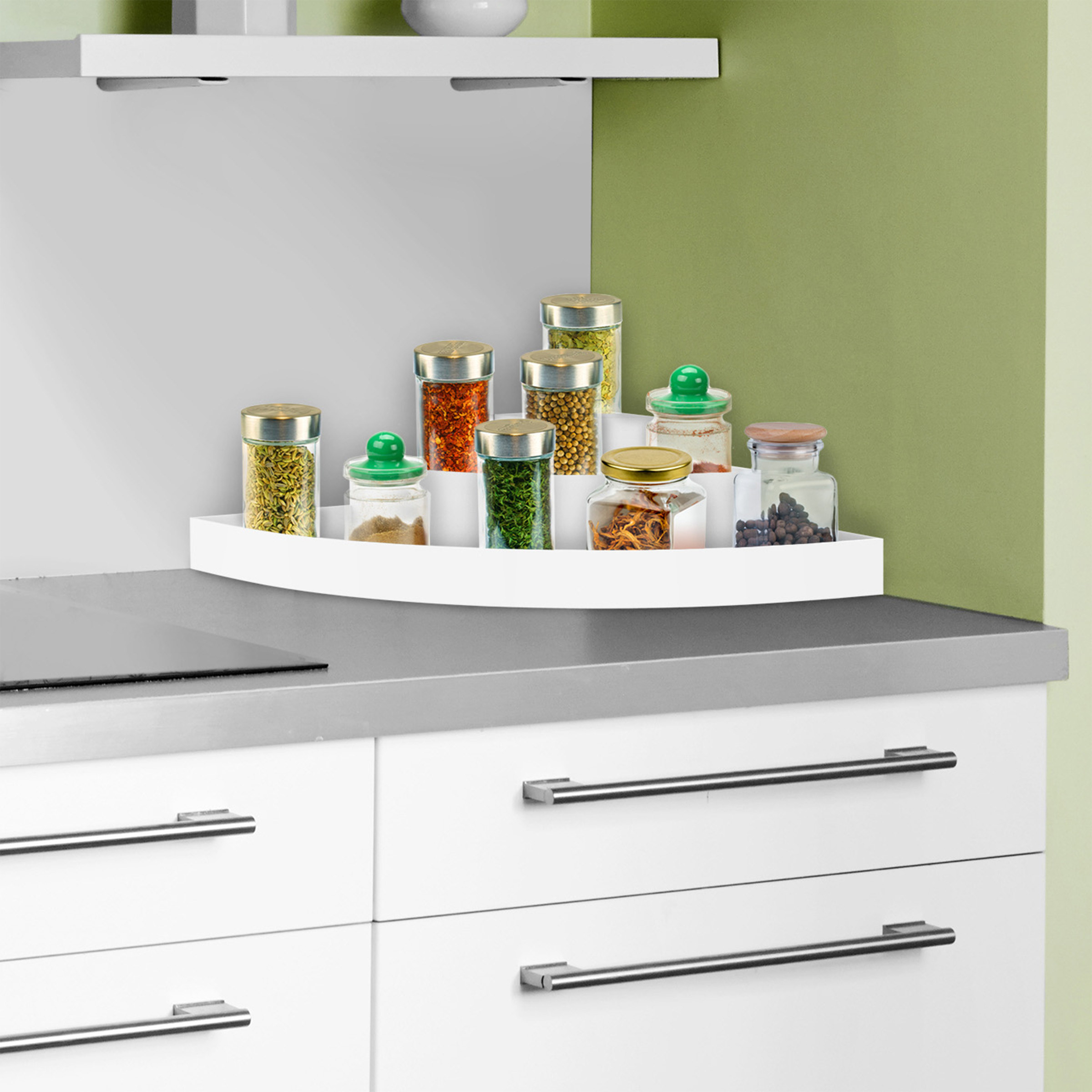 White plastic spice rack in tiers