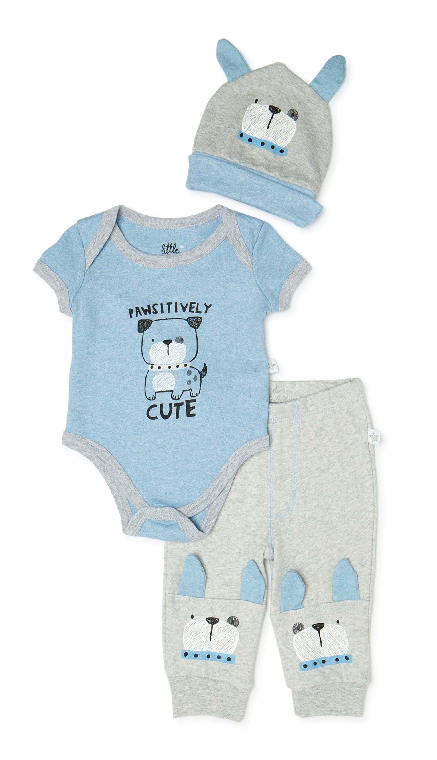 The blue and grey hat, bodysuit, and pants