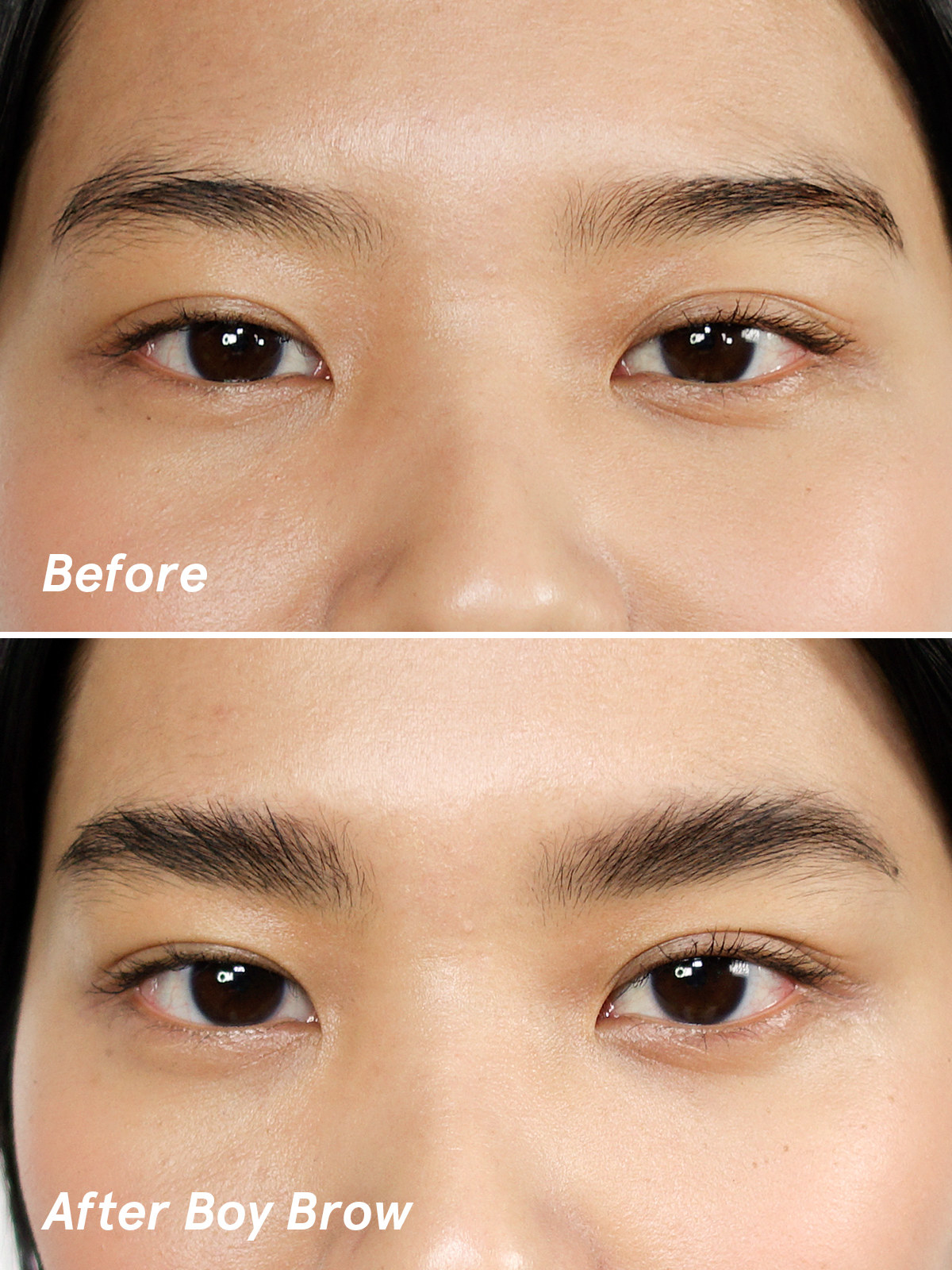 A model's thin eyebrows looking thicker after using the product
