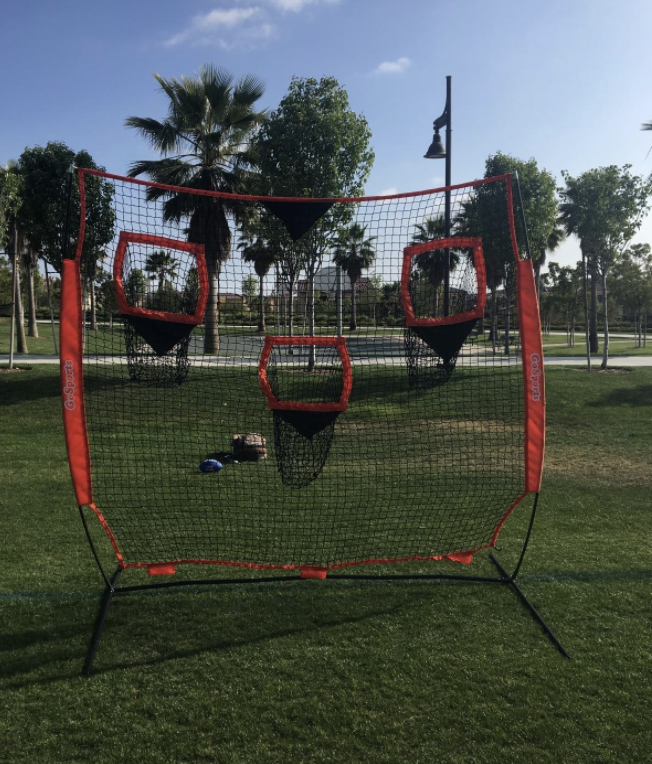 the net with three different pockets to throw a football into