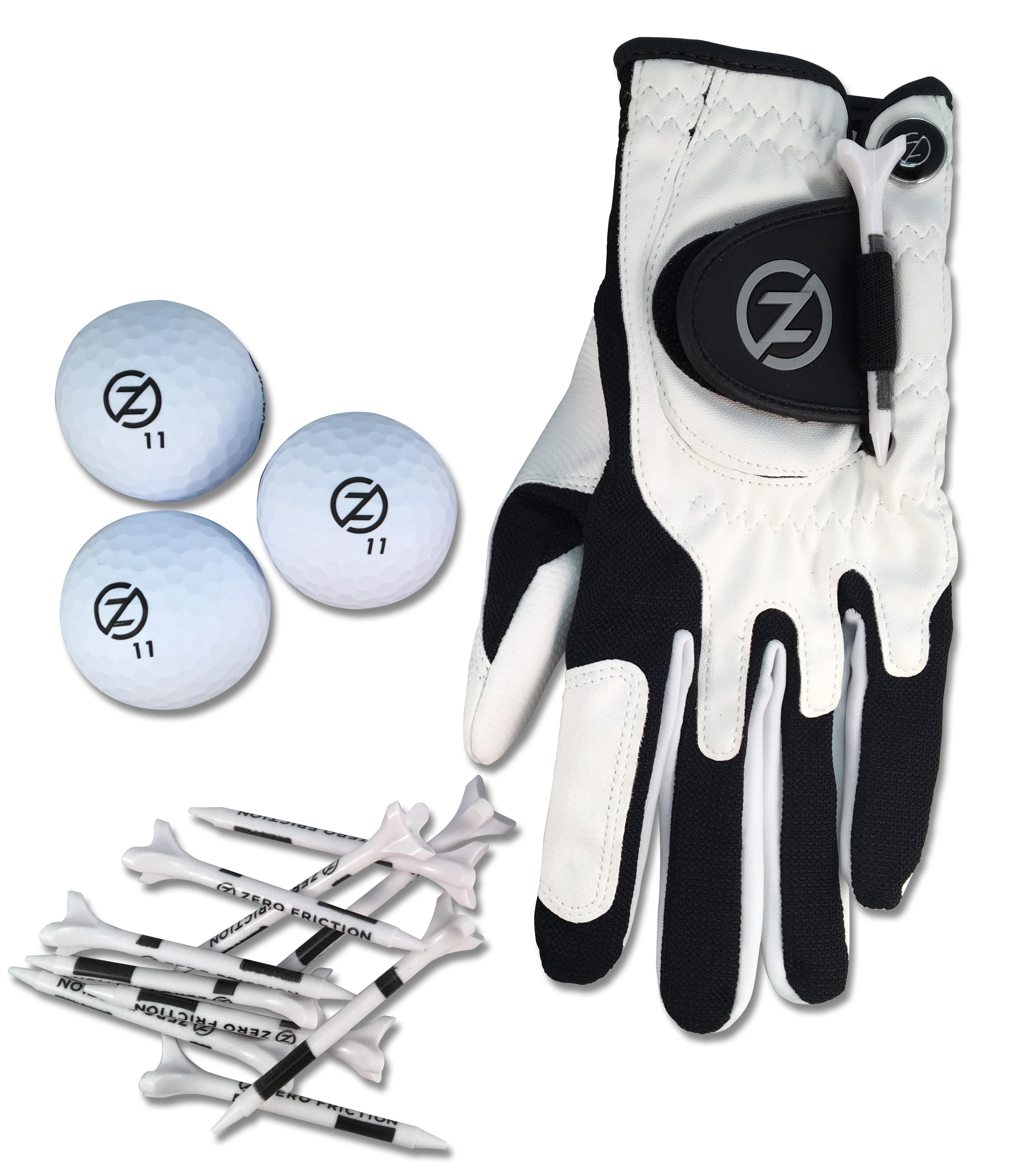 The golf balls, tees, and a white golf glove