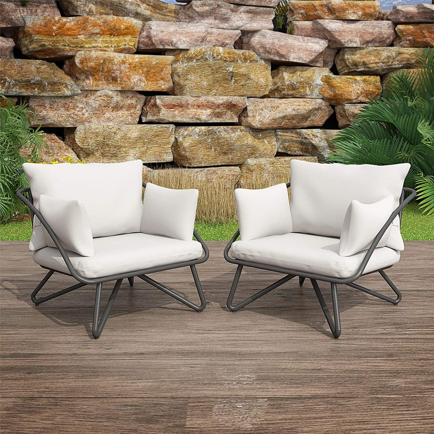 the cozy chairs with charcoal fixtures and white cushions