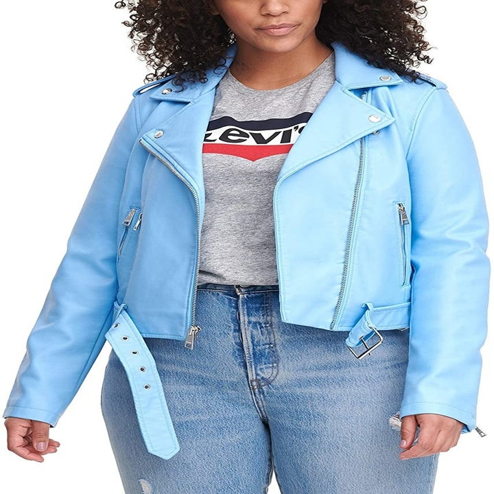 model wearing the light blue jacket