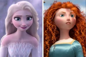 Elsa on the left and Merida on the right