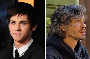 Young Logan Lerman, and him now with gray hair