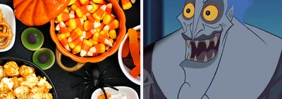 Halloween party candy and Hades from Hercules