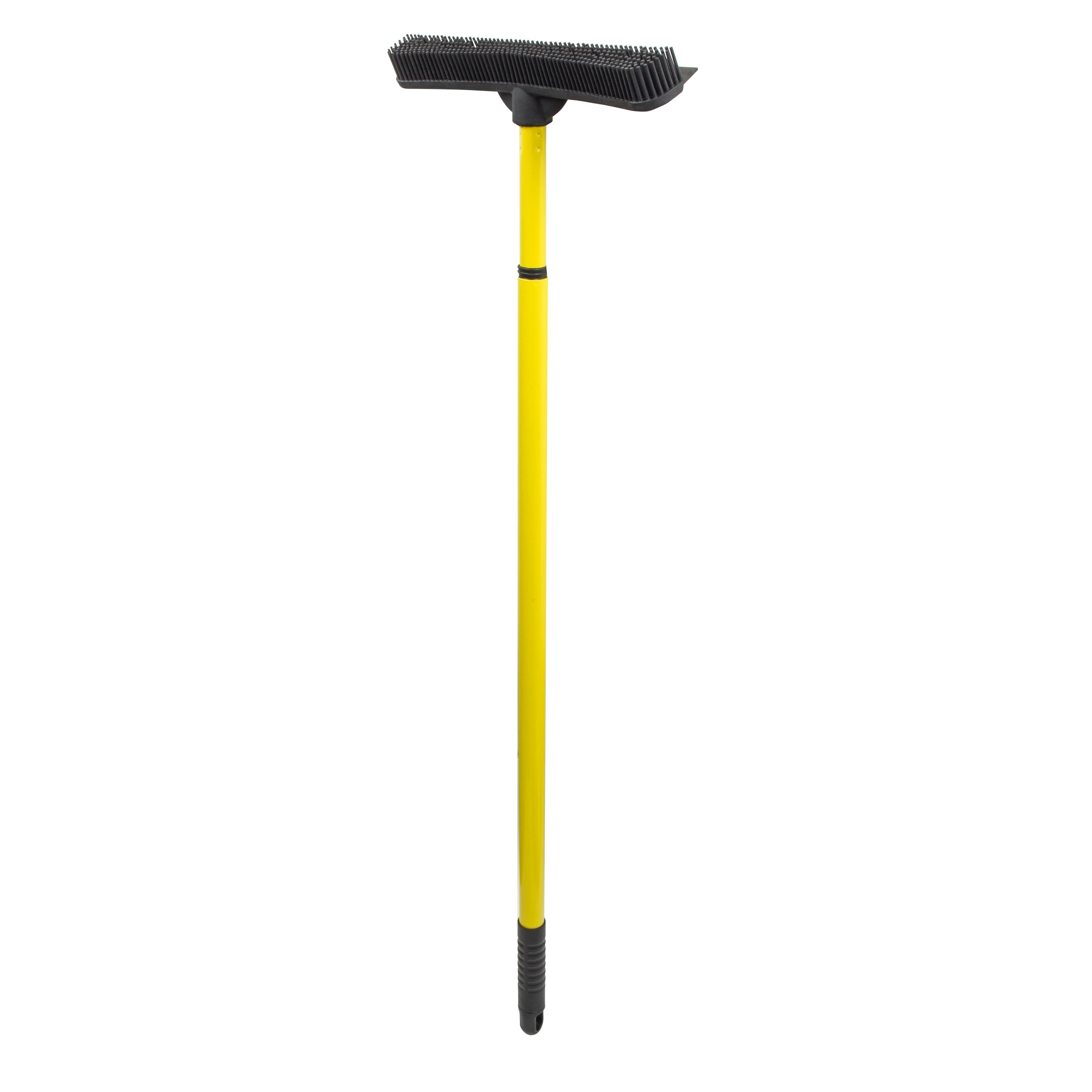 A rubber broom with a built-in squeegee on the end of a telescoping handle