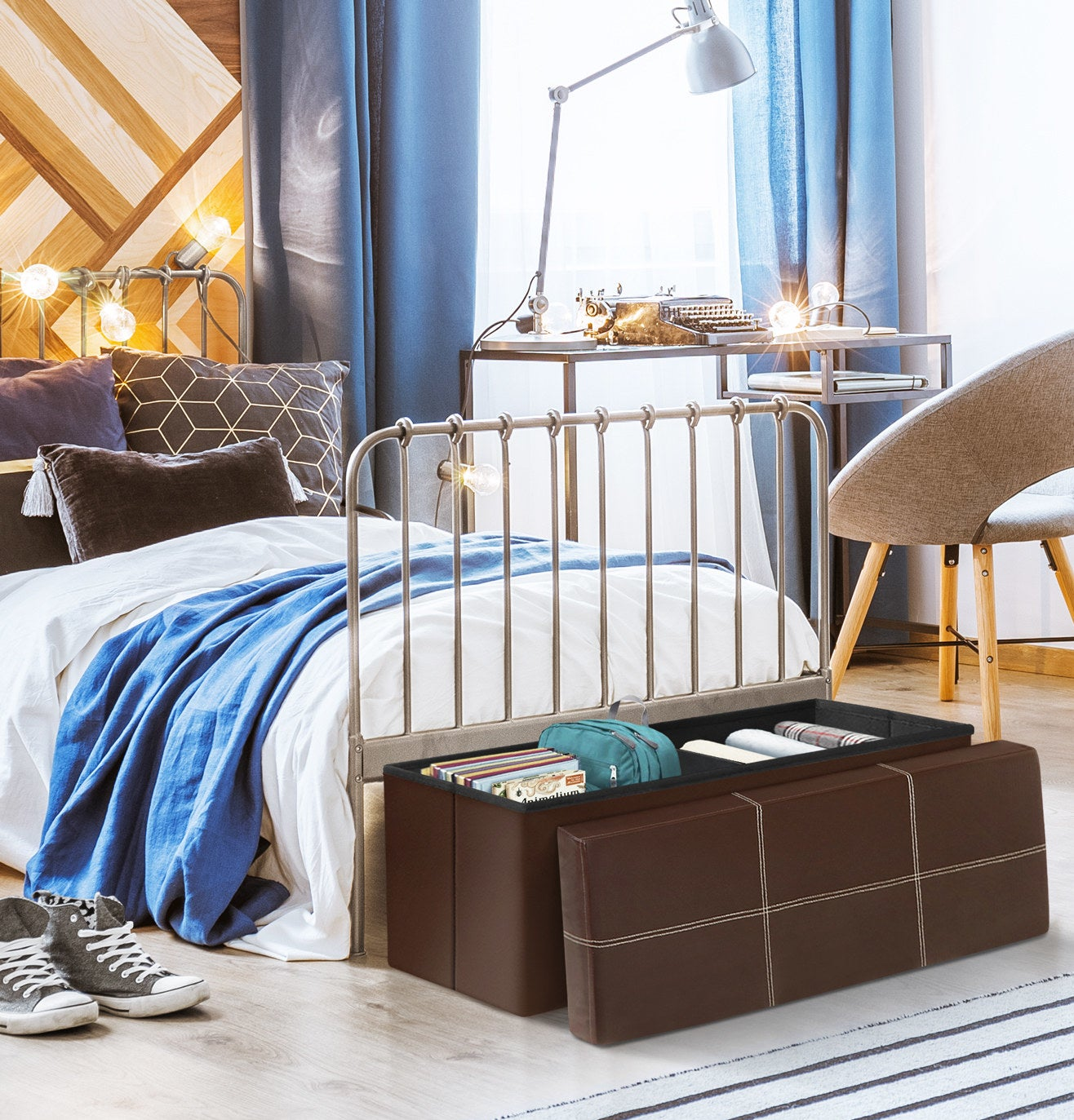 The brown ottoman at the foot of a bed