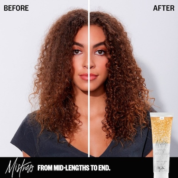Before and after of model wearing the product showing its added curl definition, increased shine, and reduced frizziness