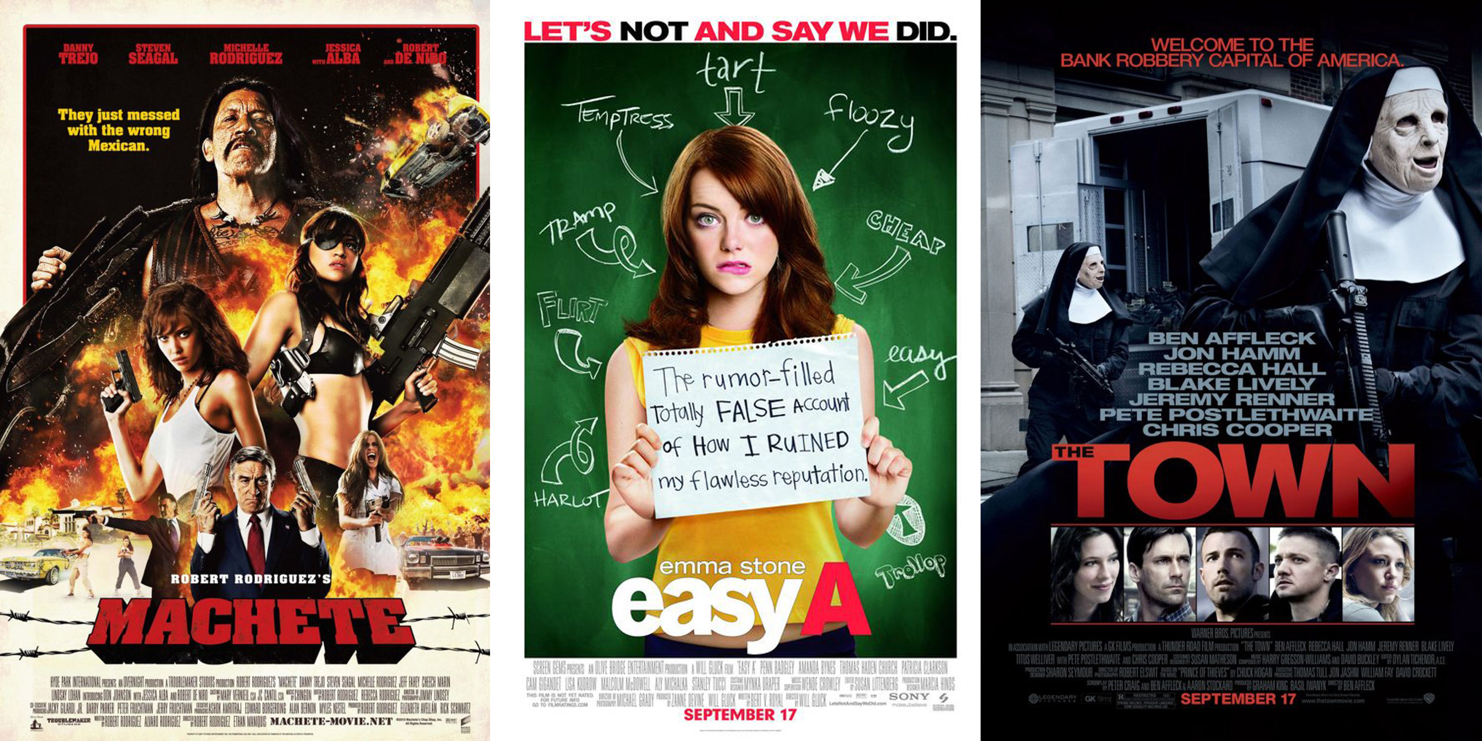 The movie poster for Matchete, Easy A, and The Town