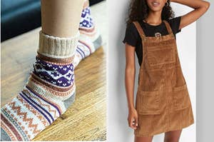 split thumbnail with feet in argyle socks, model in a brown corduroy pinafore dress