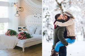 On the left, a bedroom with a bed next to window and a brick wall with bouquets of flowers on top of the blankets, and on the right, a couple looks into each other's eyes as they stand outside in the snow