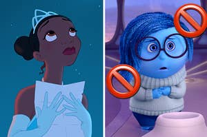 Tiana from Princess and the Frog on the left and Sadness from inside out on the right with stop emojis over her