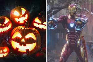 Scary pumpkins are stacked on the left with Iron Man pointing at them on the right