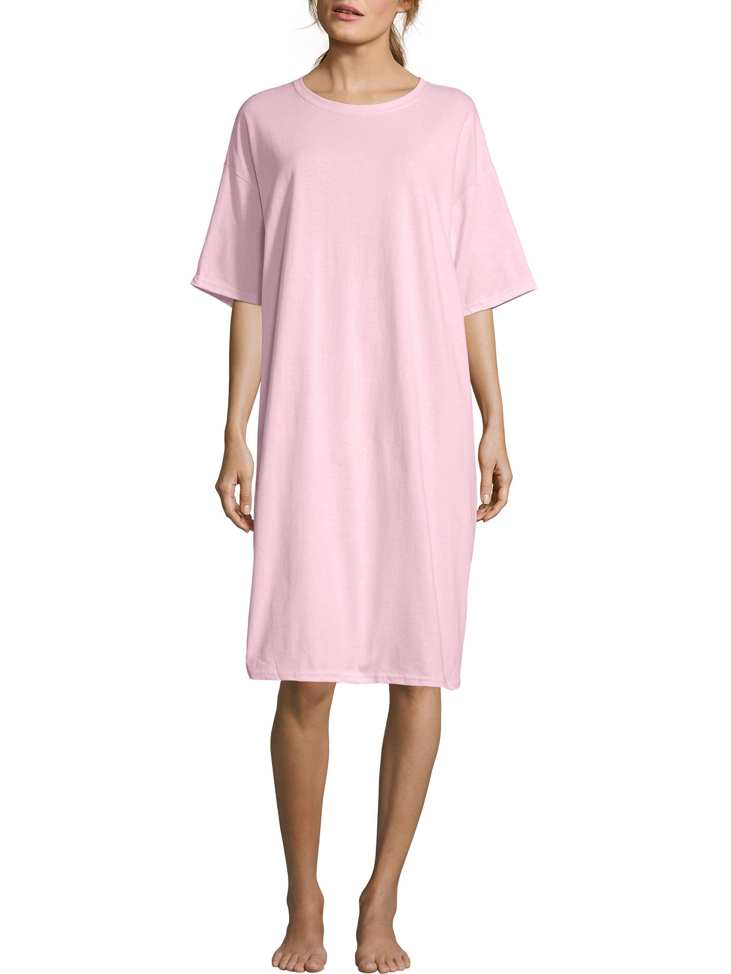 Model wearing the T-shirt dress in pink