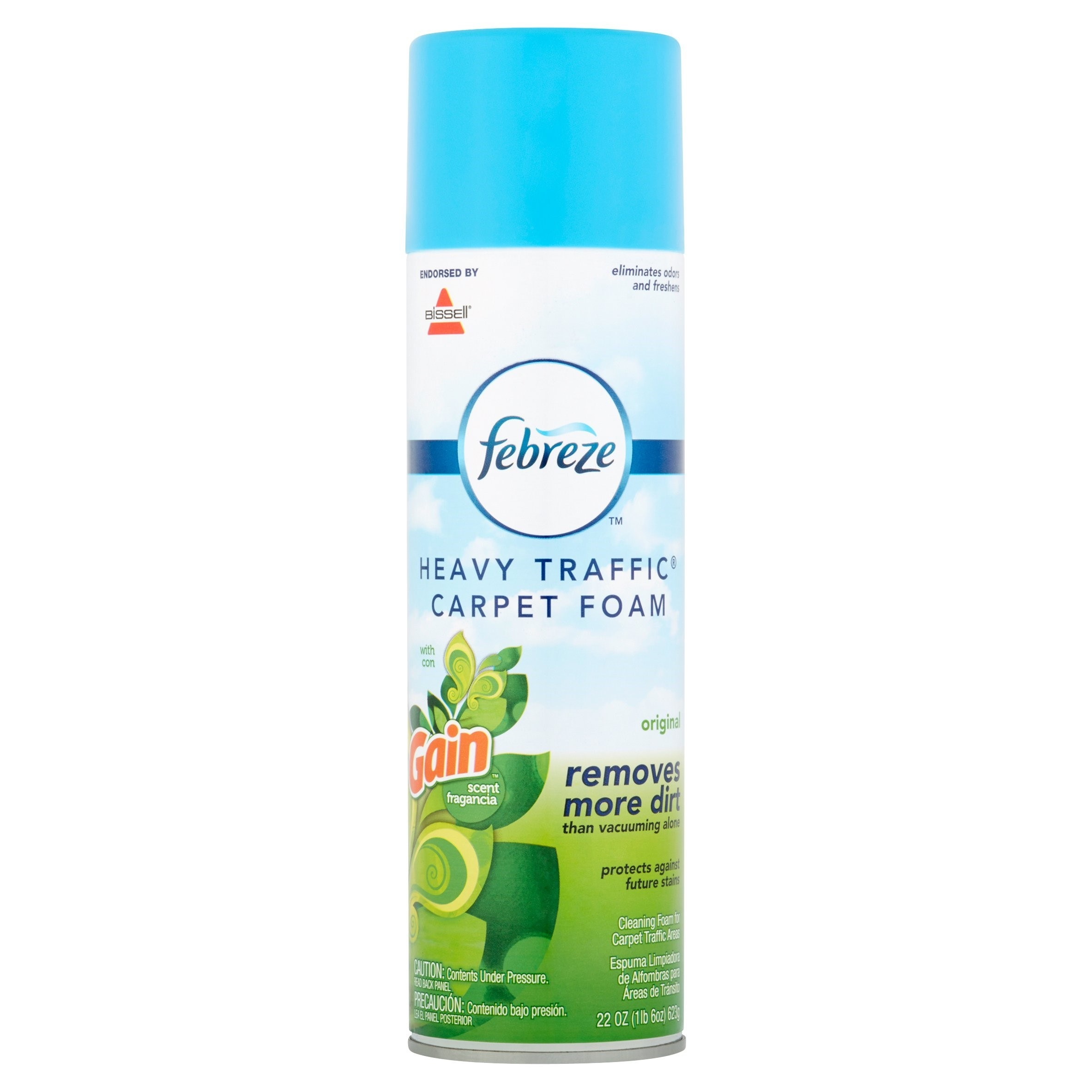 A 22-ounce can of Febreze heavy-traffic carpet foam made with Gain fragrance