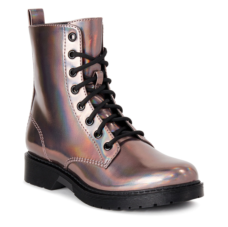 The pink metallic combat boot