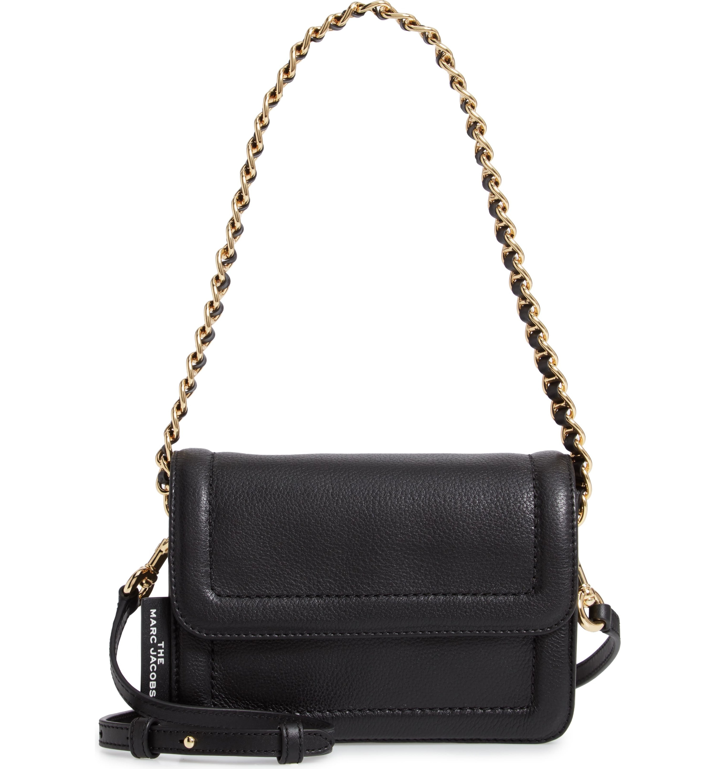 the black purse with a gold chain strap