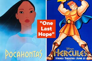 """One Last Hope"" with posters for Pocahontas and Hercules"