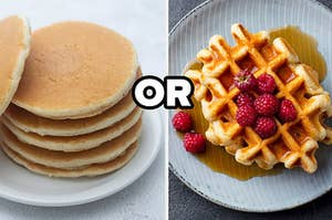 """Pancakes on the left and waffles on the right with the word """"or"""" in between them"""