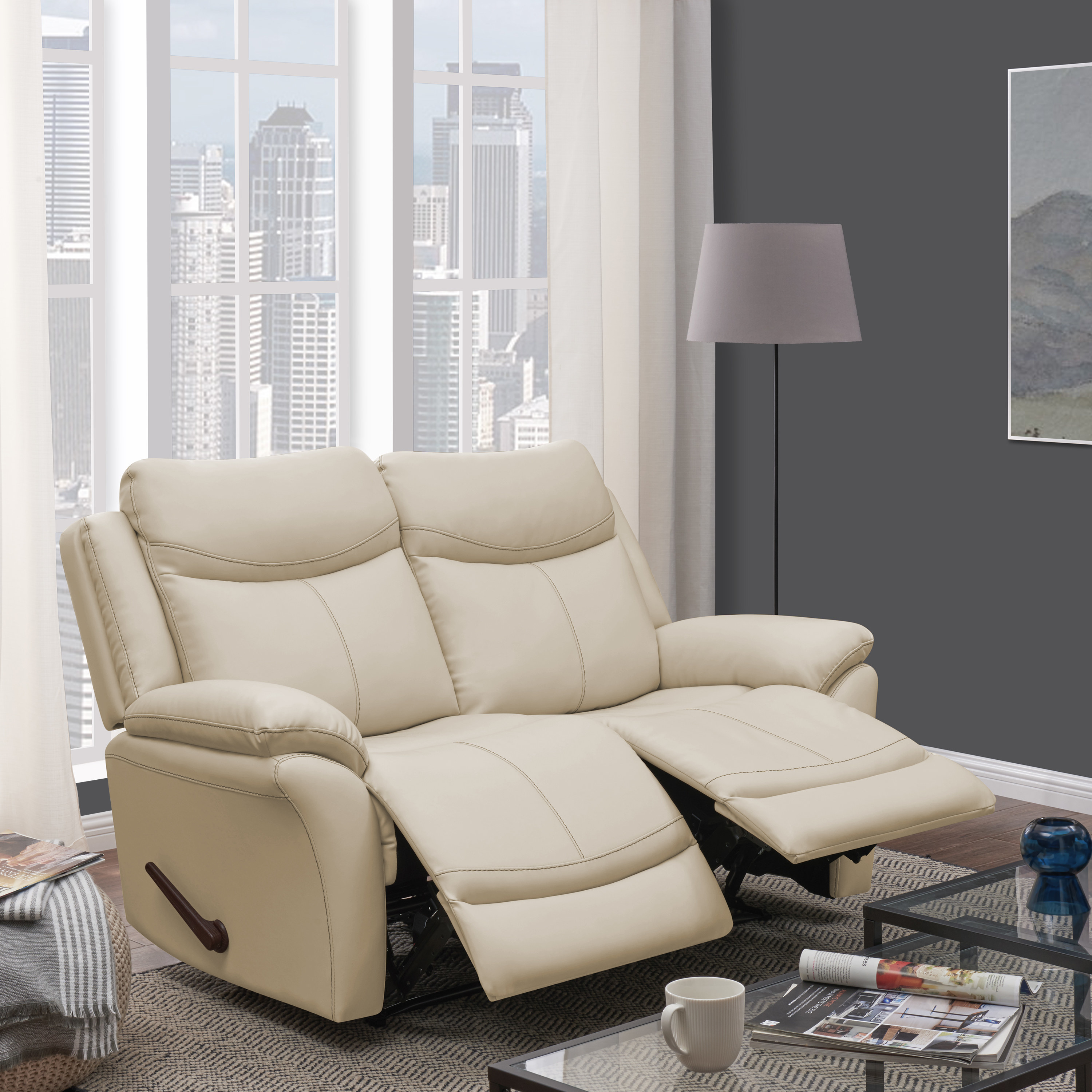 the white leather loveseat