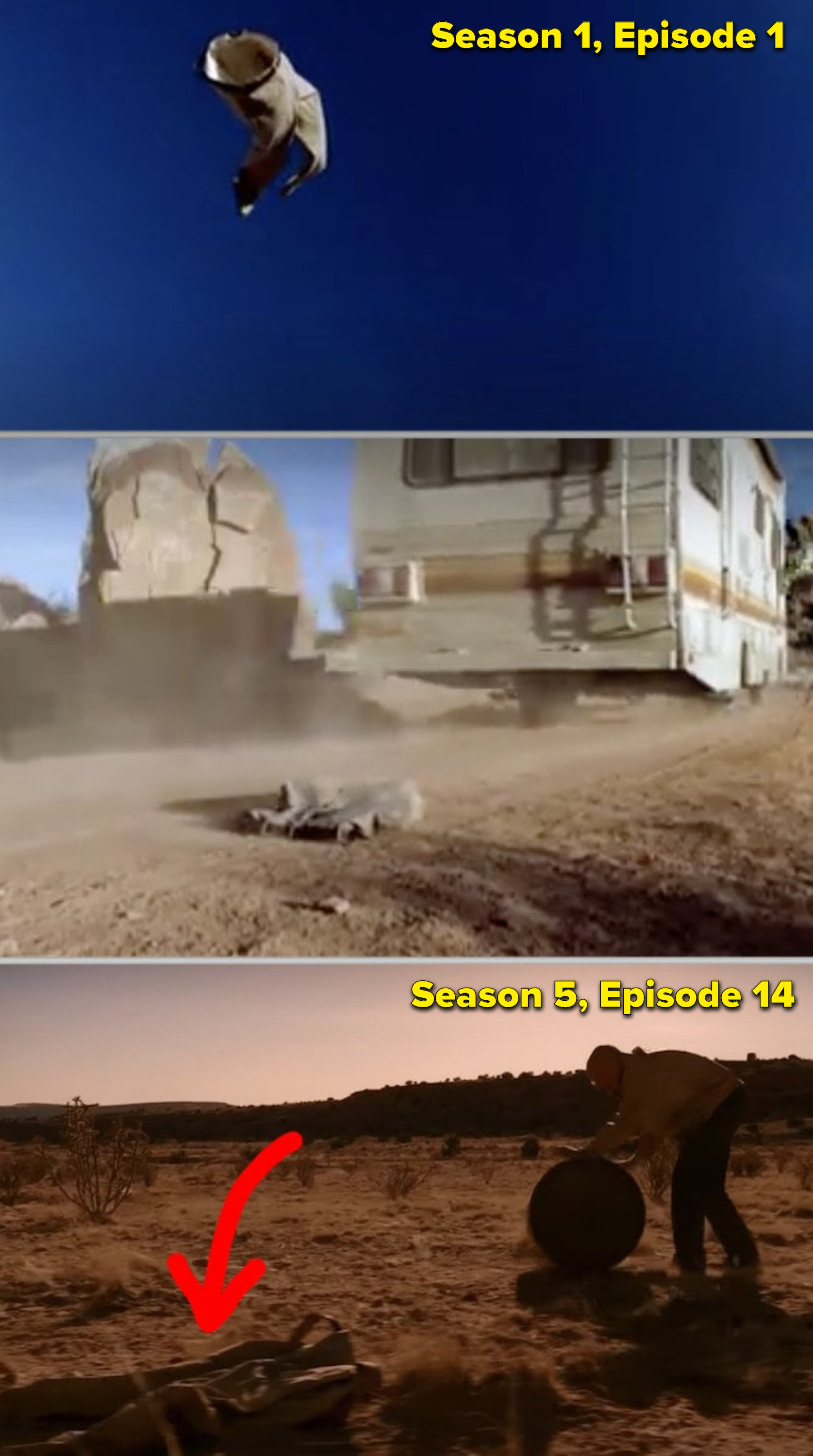 Side-by-sides of Walter White's pants flying through the air in the pilot episode, vs. him walking by those same pants in the desert five years later