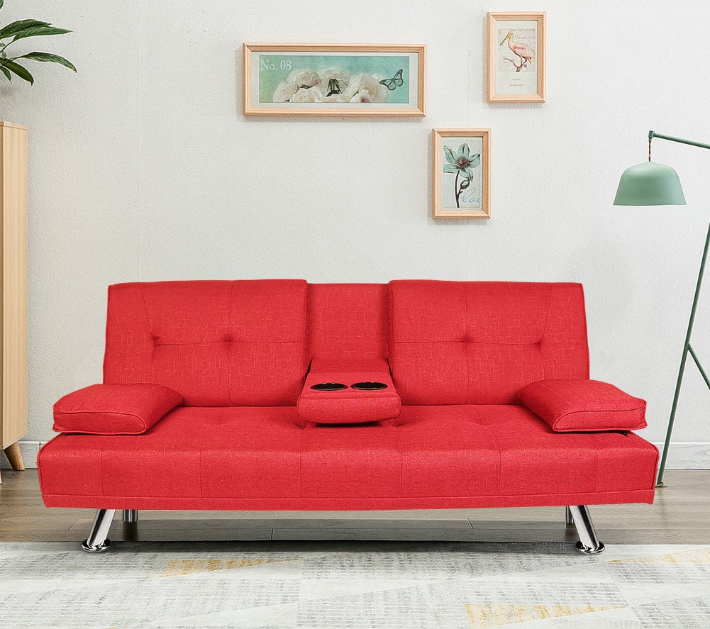 Red couch with cup holders and silver legs