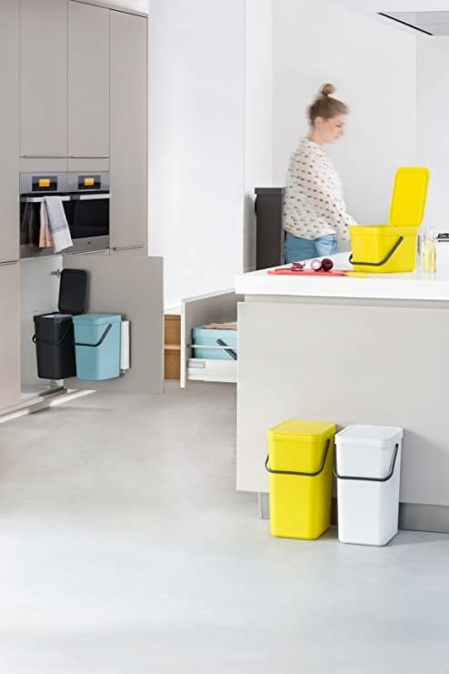 Five of the Brabantia Sort & Go Waste Bins on display in a kitchen