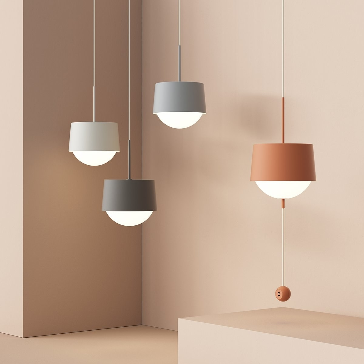 Modern light with half orb glass and small cover in shape of classic lamp shade hanging from minimalist wire