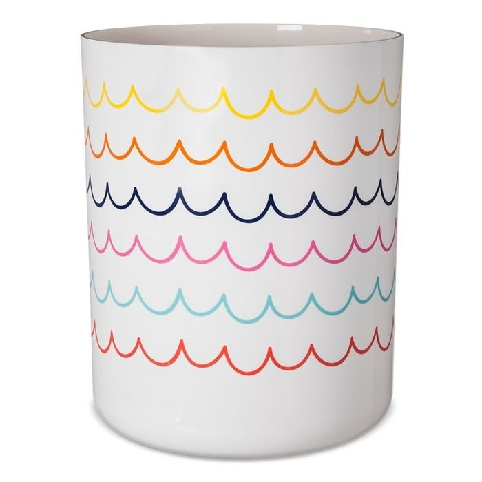 The white Pillowfort Bathroom Wastebasket