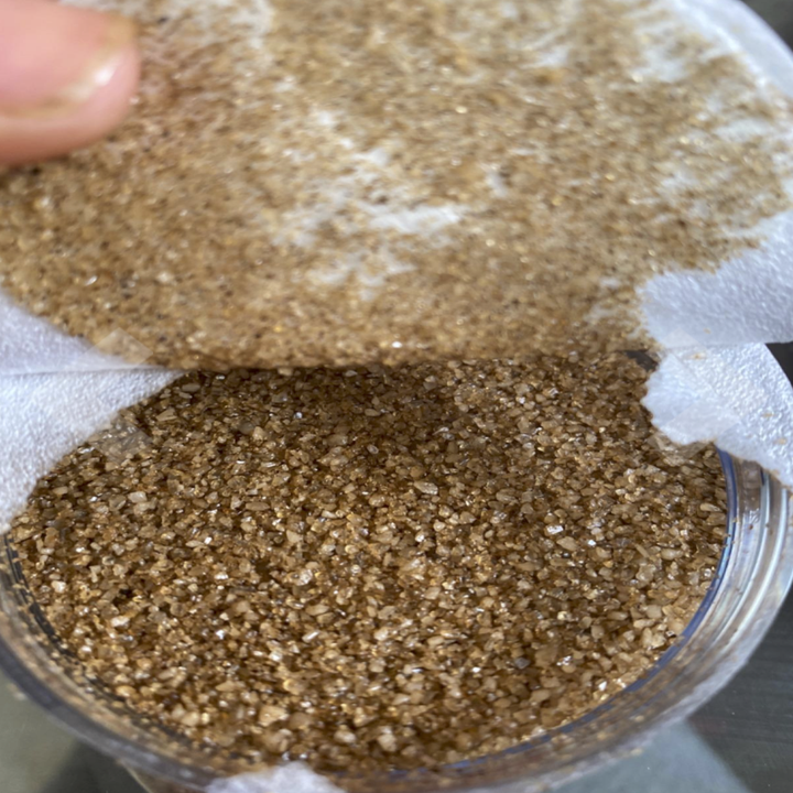 a close-up of the grains of bacon salt