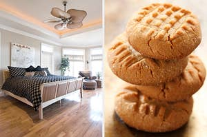 On the left, a master bedroom with wood floors, a bed, an armchair in the corners, and a ceiling fan, and on the right, a stack of peanut butter cookies